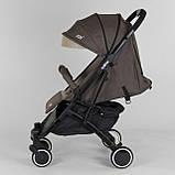 Коляска прогулочная детская JOY Vittoria 71055 Коричневый Лен алюминиевая рама, футкавер, фото 5