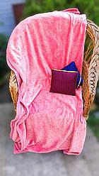 """Плед полуторный однотонный розовый с узором тиснением из флиса """"Ажур"""""""