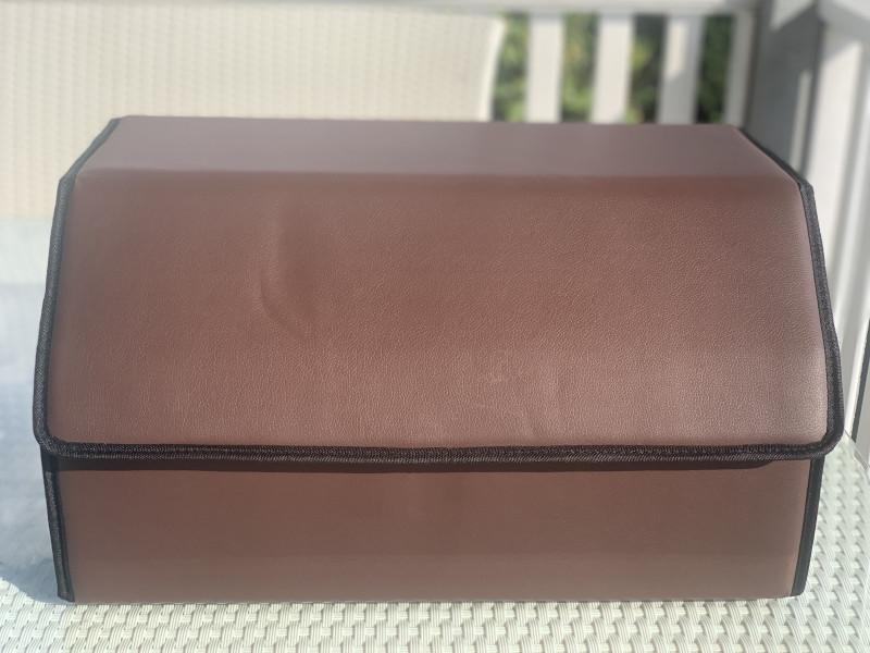 Органайзер для автомобиля. Сумка для авто машины в багажник темно-коричневый гладкий L (56смХ31смХ29см)
