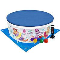 Детский надувной бассейн Intex 58480-3 «Аквариум», 152 х 56 см, с шариками 10 шт, тентом, подстилкой, насосом