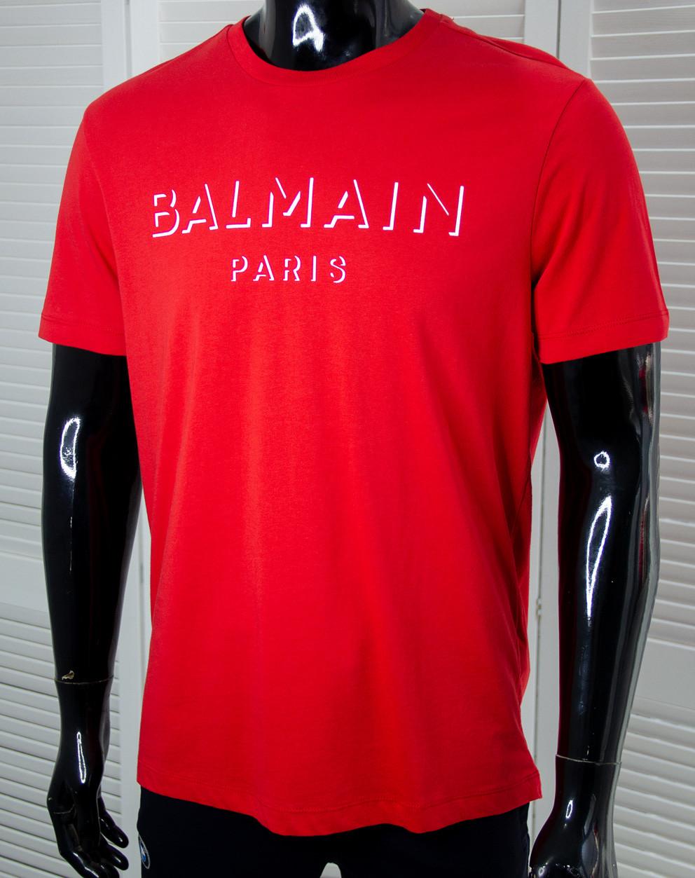 Чоловіча футболка Balmain Червона, з круглим вирізом, короткий рукав, ідеальна посадка, Люкс якість