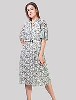 Гарне плаття з широким рукавом на м'ятному тлі в дрібну квіточку