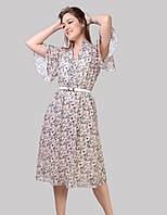 Жіноче плаття збільшених розмірів рукав реглан до низу розкльошений