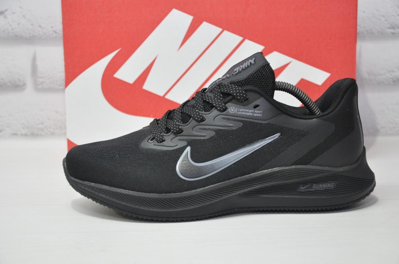 Мужские летние черные кроссовки сетка в стиле Nike Air Zoom running