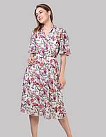 Жіноче квіткове плаття виконано з тканини шифону на трикотажній підкладці р46-52