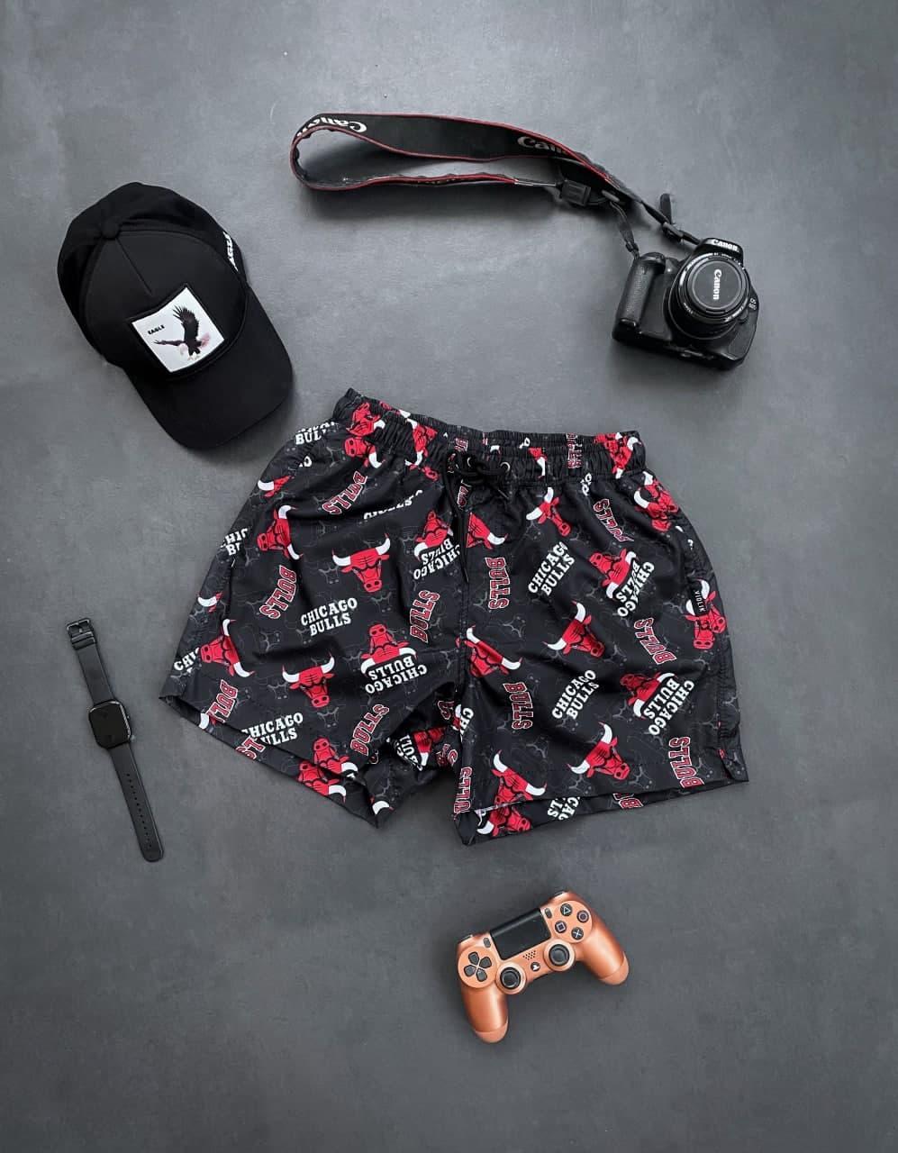 Мужские шорты плавательные (черные) трикотажные с надписью Chicago Bulls на лето sff15