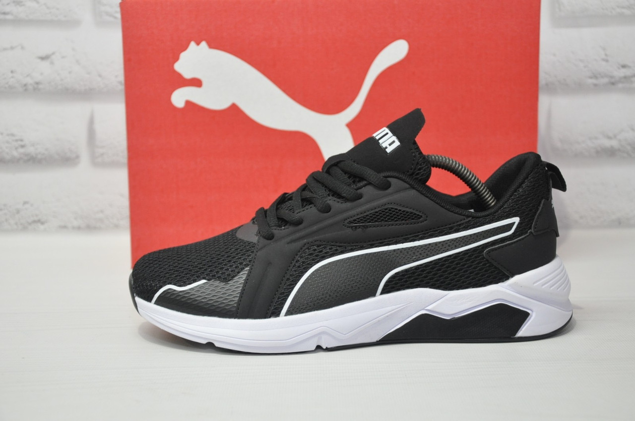 Чорні кросівки сітка в стилі Puma