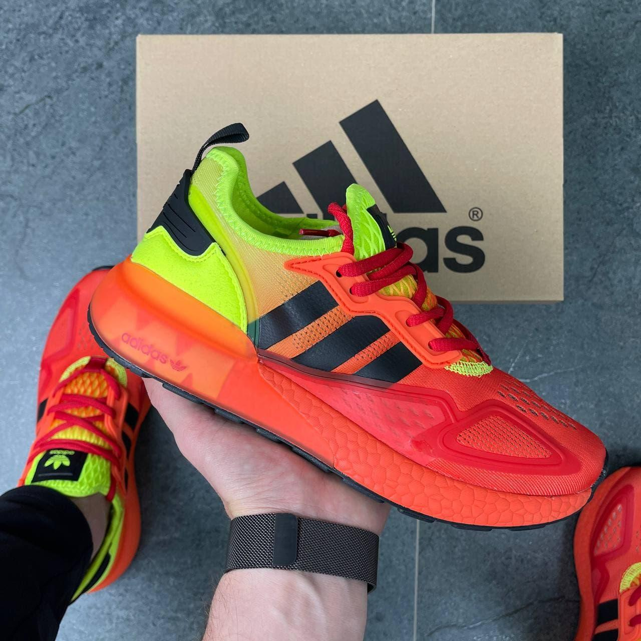 Чоловічі кросівки Adidas ZX 2k Boost (жовтогарячий із салатовим) DА1184 легкі круті спортивні кроси