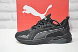 Чорні чоловічі повсякденні кросівки сітка в стилі Puma, фото 3