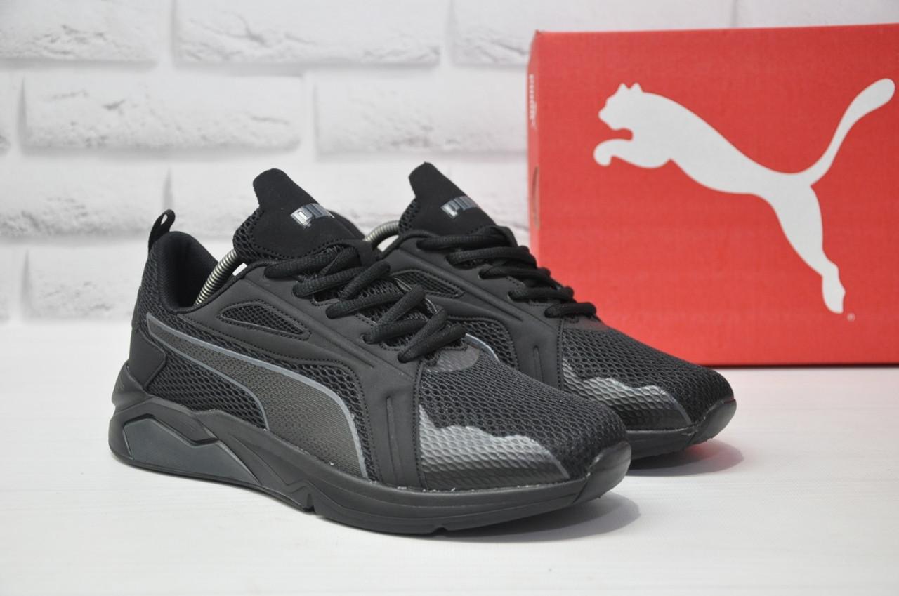 Чорні чоловічі повсякденні кросівки сітка в стилі Puma