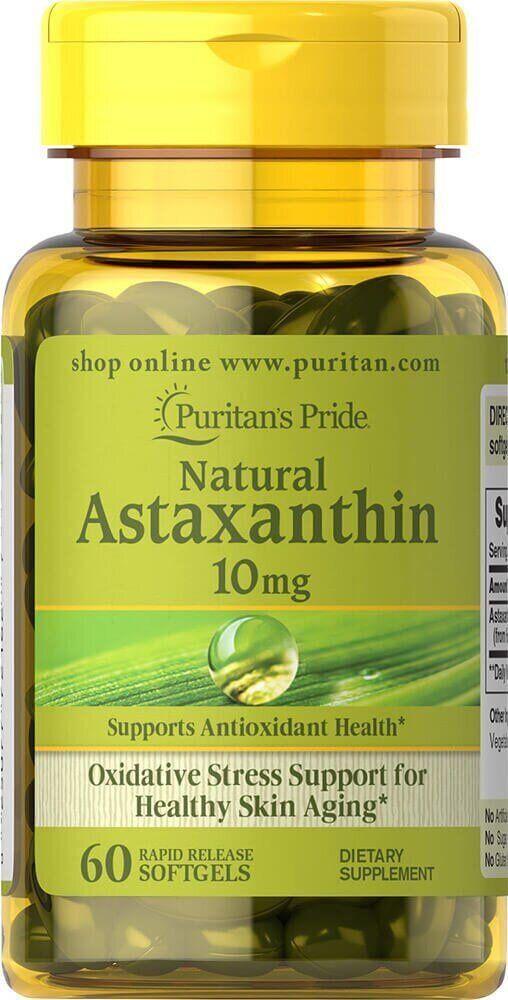 Астаксантин Puritan's Pride Natural Astaxanthin 10 mg 60 капсул