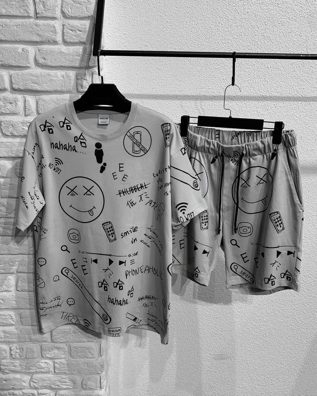Мужской комплект шорты + футболка (серая) с надписями и смайликами s12279