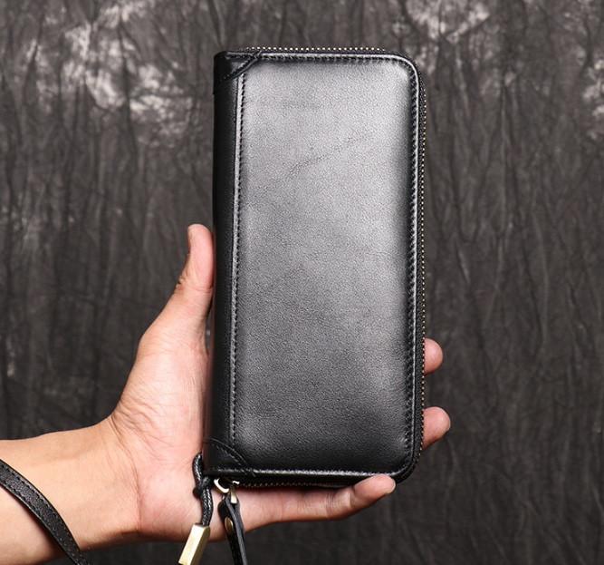 Класичний чоловічий гаманець шкіряний клатч натуральна шкіра, чоловіче портмоне чорний