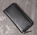Класичний чоловічий гаманець шкіряний клатч натуральна шкіра, чоловіче портмоне чорний, фото 2
