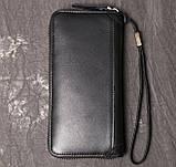 Класичний чоловічий гаманець шкіряний клатч натуральна шкіра, чоловіче портмоне чорний, фото 3