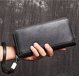 Класичний чоловічий гаманець шкіряний клатч натуральна шкіра, чоловіче портмоне чорний, фото 4