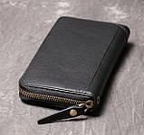 Класичний чоловічий гаманець шкіряний клатч натуральна шкіра, чоловіче портмоне чорний, фото 5