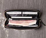 Класичний чоловічий гаманець шкіряний клатч натуральна шкіра, чоловіче портмоне чорний, фото 6