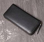 Класичний чоловічий гаманець шкіряний клатч натуральна шкіра, чоловіче портмоне чорний, фото 7