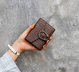 Женский мини кошелек клатч подкова под рептилию, маленький кошелечек эко кожа с подковой, фото 4