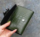 Женский мини кошелек клатч подкова под рептилию, маленький кошелечек эко кожа с подковой, фото 6