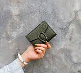 Женский мини кошелек клатч подкова под рептилию, маленький кошелечек эко кожа с подковой, фото 9