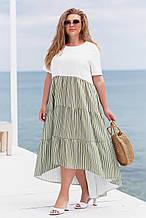 Літнє плаття жіноче Льон Розмір 48 50 52 54 56 58 60 62 В наявності 2 кольори