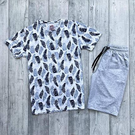 Футболка + шорти чоловічий комплект. Літній костюм шорти + футболка з модним принтом., фото 2