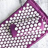 Масажний акупунктурний килимок з подушкою | Масажер для спини і ніг OSPORT | Аплікатор Кузнєцова, фото 4
