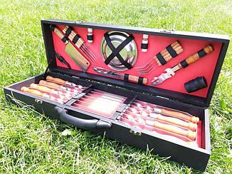 """Набор из 8 шампуров для люля-кебаб """"Lux"""" (720х20х2,5 мм) + комплект аксессуаров в деревянном кейсе"""