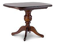 Стіл дерев'яний овальний на одній ніжці, кухонний, обідній ТРІУМФ (горіх темний), фото 1