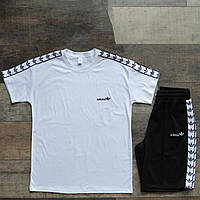 Мужской Комплект Адидас лампас шорты+футболка белая