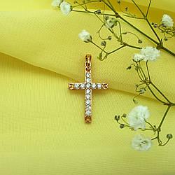 Крест с камешками, медсплав Xuping, 18К