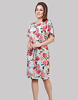 Сукня вільного силуету з тканини стрейч софта 3D троянди на тлі м'ятному