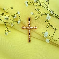 """Крест позолоченный, с распятием """"Спаси и сохрани"""",  Xuping, 18К"""