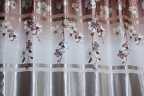 Плотная атласная ткань, фотошторы с цветочным принтом. Код 728ш