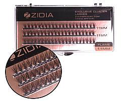Вії накладні пучкові Полумя Zidia Cluster Lashes Flame Series C 0.10 (3 лєнти, розмір 11 мм)