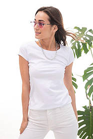Женская белая однотонная базовая футболка