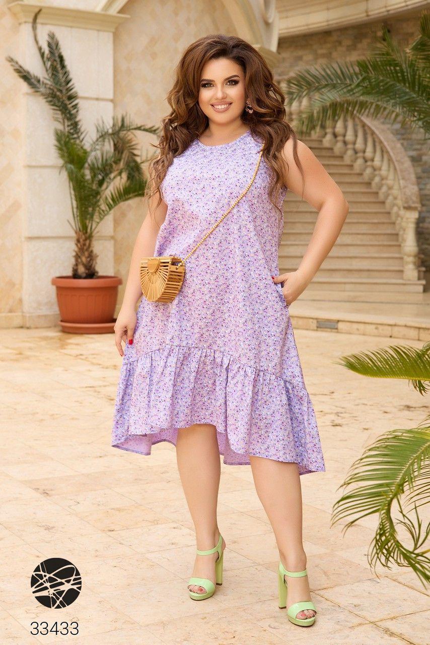 Сукня з квітковим принтом з 100% котону великого розміру 48-50,52-54,56-58,60-62,64-66