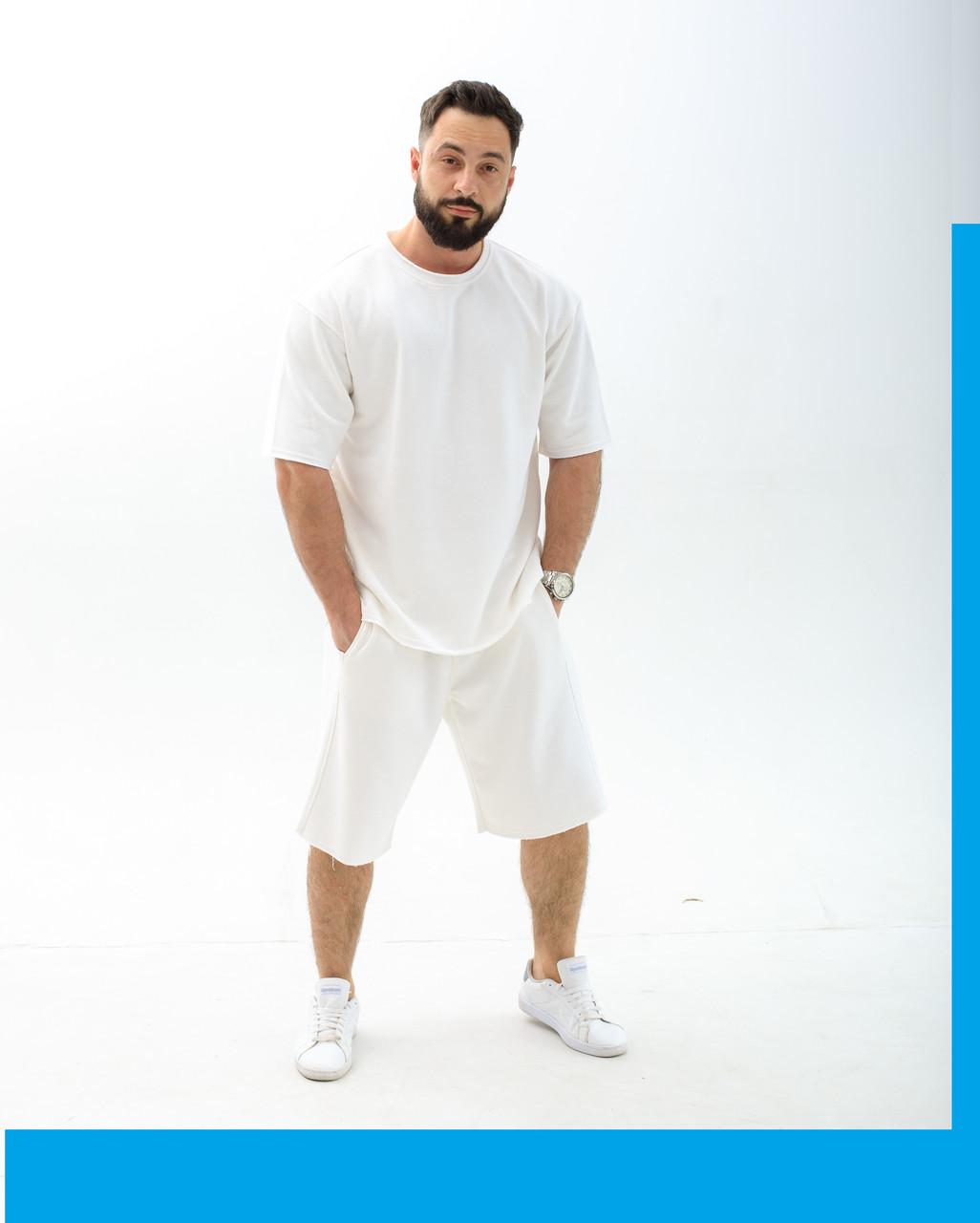 Комплект Футболка + Шорты  | Спортивный костюм мужской летний /  Шорты футболка светло-серого цвета