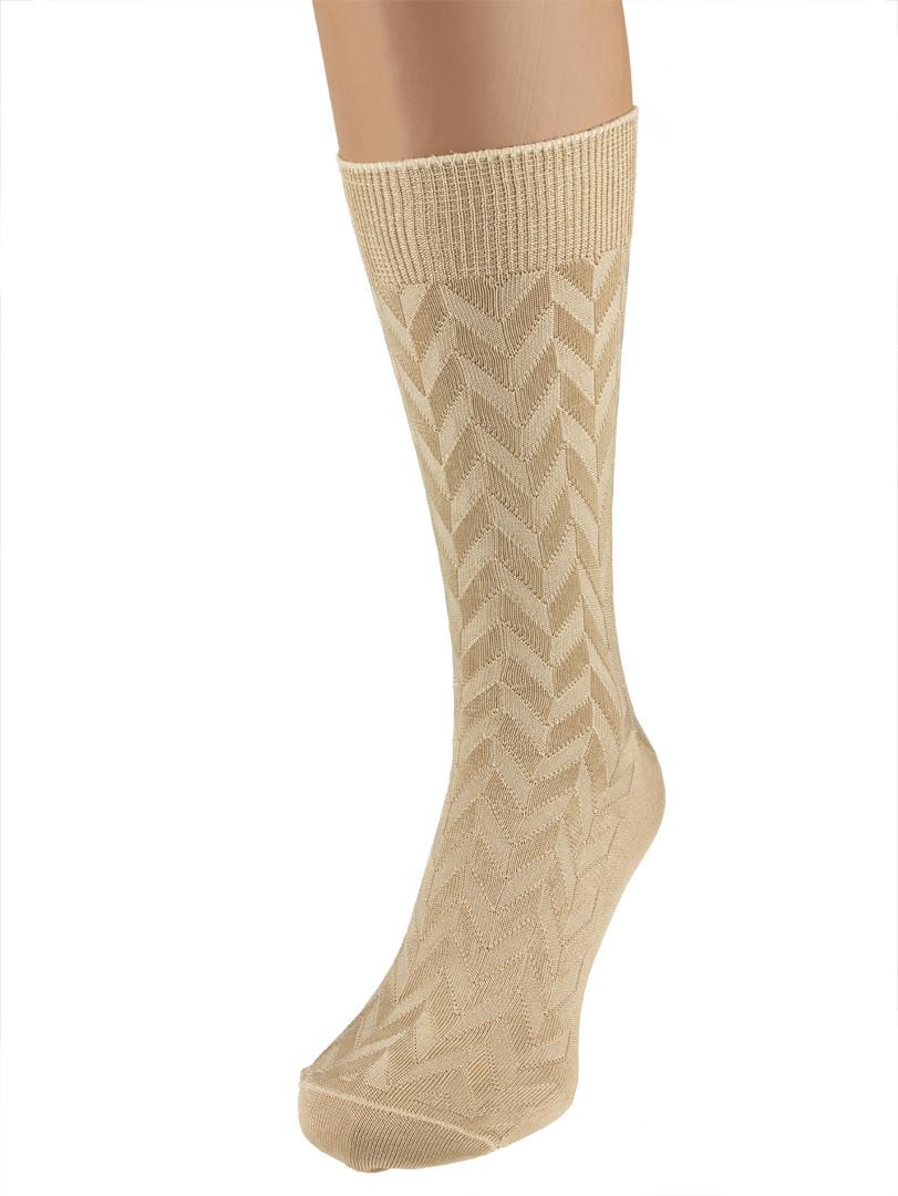 Шовкові чоловічі шкарпетки бежеві р. 39-42