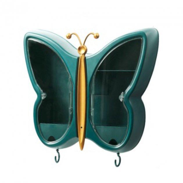Полиця-органайзер для косметики Метелик Темно-зелений