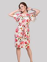Сукня з тканини стрейч софта 3D троянди на пудровим тлі розміри 48-54