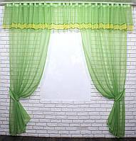 Комплект ламбрекен с шторами, на карниз 3м. Цвет салатовый с жёлтым. Код 158лш
