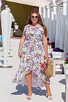 Женское летнее укороченное спереди платье, фото 1
