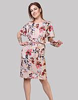 Літнє плаття вільного силуету з рукавами -крилишкамі, талія елегантно підкреслена поясом