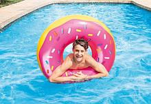 Надувний круг великий Intex Рожевий Пончик для дорослих і дітей, Надувний круг Інтекс для плавання у воді