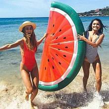 Оригинальный яркий пляжный надувной матрас долька Арбуза, большой детский плот для плавания половинка