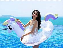 Оригинальный яркий пляжный Надувной круг-матрас единорог, большой детский плот для плавания круглый