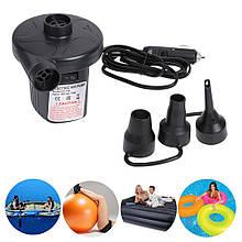 Электрический воздушный насос для матрасов лодок и кругов  12v, надувной насос от прикуривателя 3 форсунки